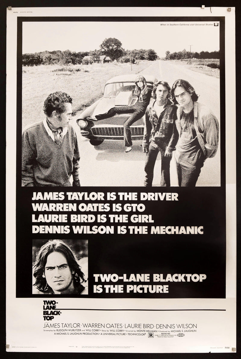 Two Lane Blacktop 40x60 Original Vintage Movie Poster