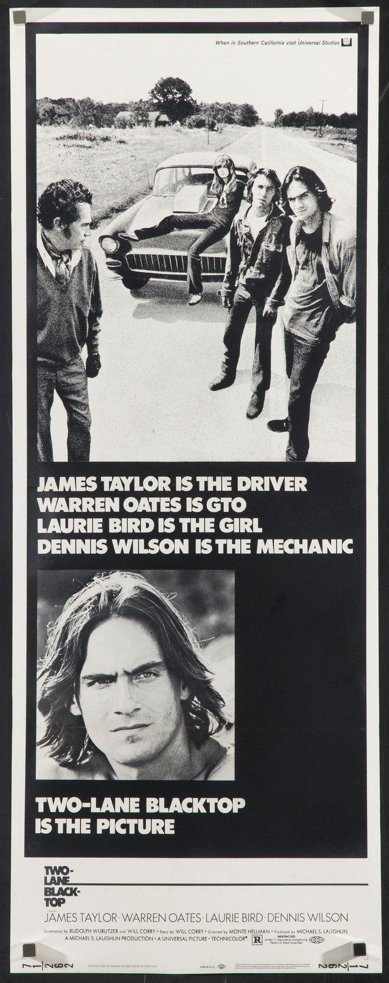 Two Lane Blacktop Insert (14x36) Original Vintage Movie Poster