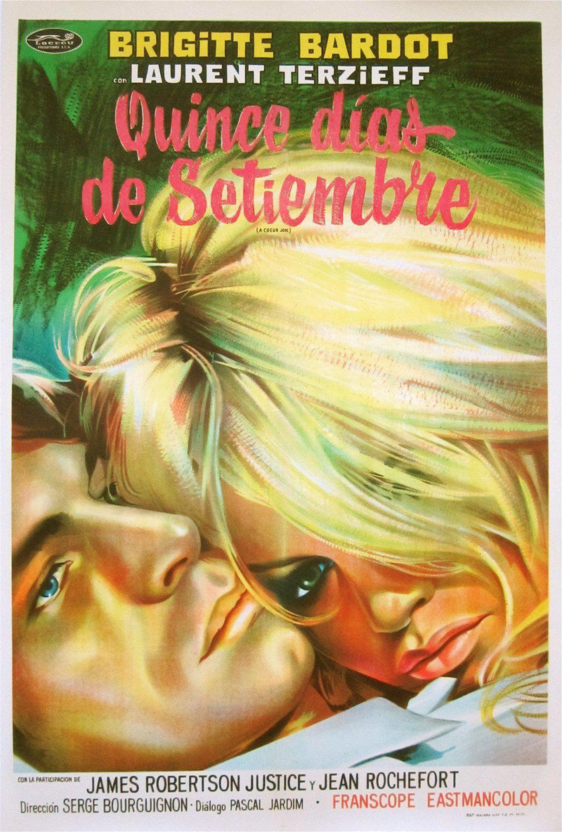 Two Weeks In September (A Coeur Joie) 1 Sheet (27x41) Original Vintage Movie Poster