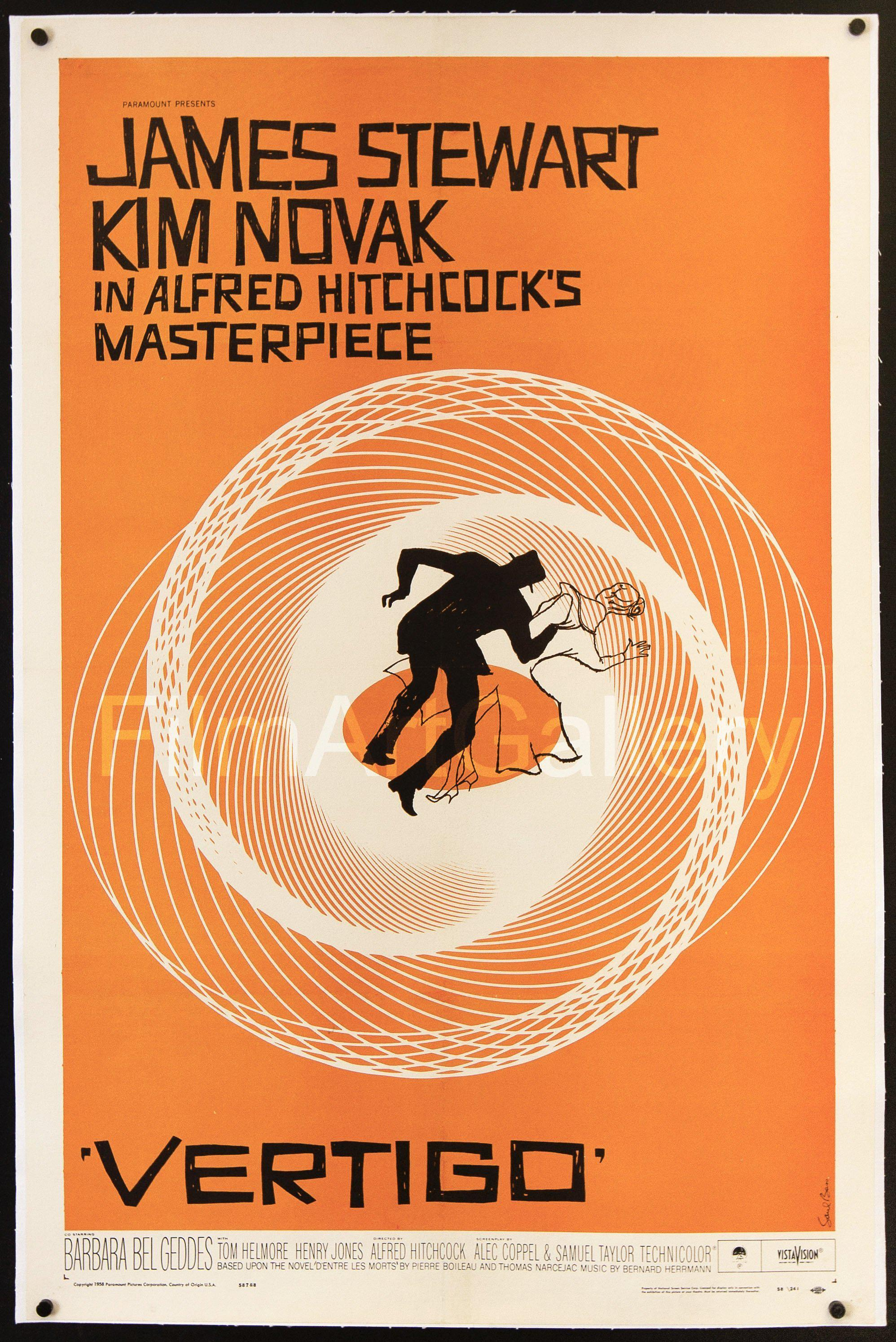 Vertigo 1 Sheet (27x41) Original Vintage Movie Poster