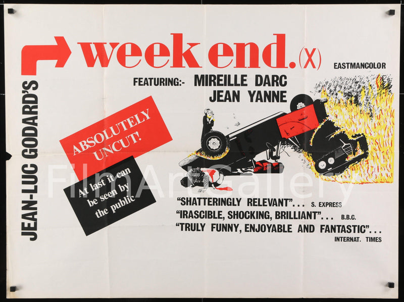 Weekend (Week End) British Quad (30x40) Original Vintage Movie Poster