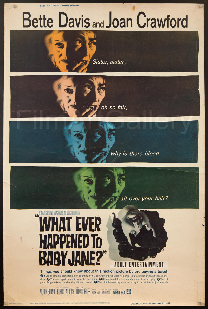 Whatever Happened to Baby Jane? 40x60 Original Vintage Movie Poster