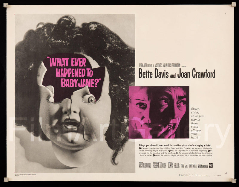 Whatever Happened to Baby Jane? Half sheet (22x28) Original Vintage Movie Poster