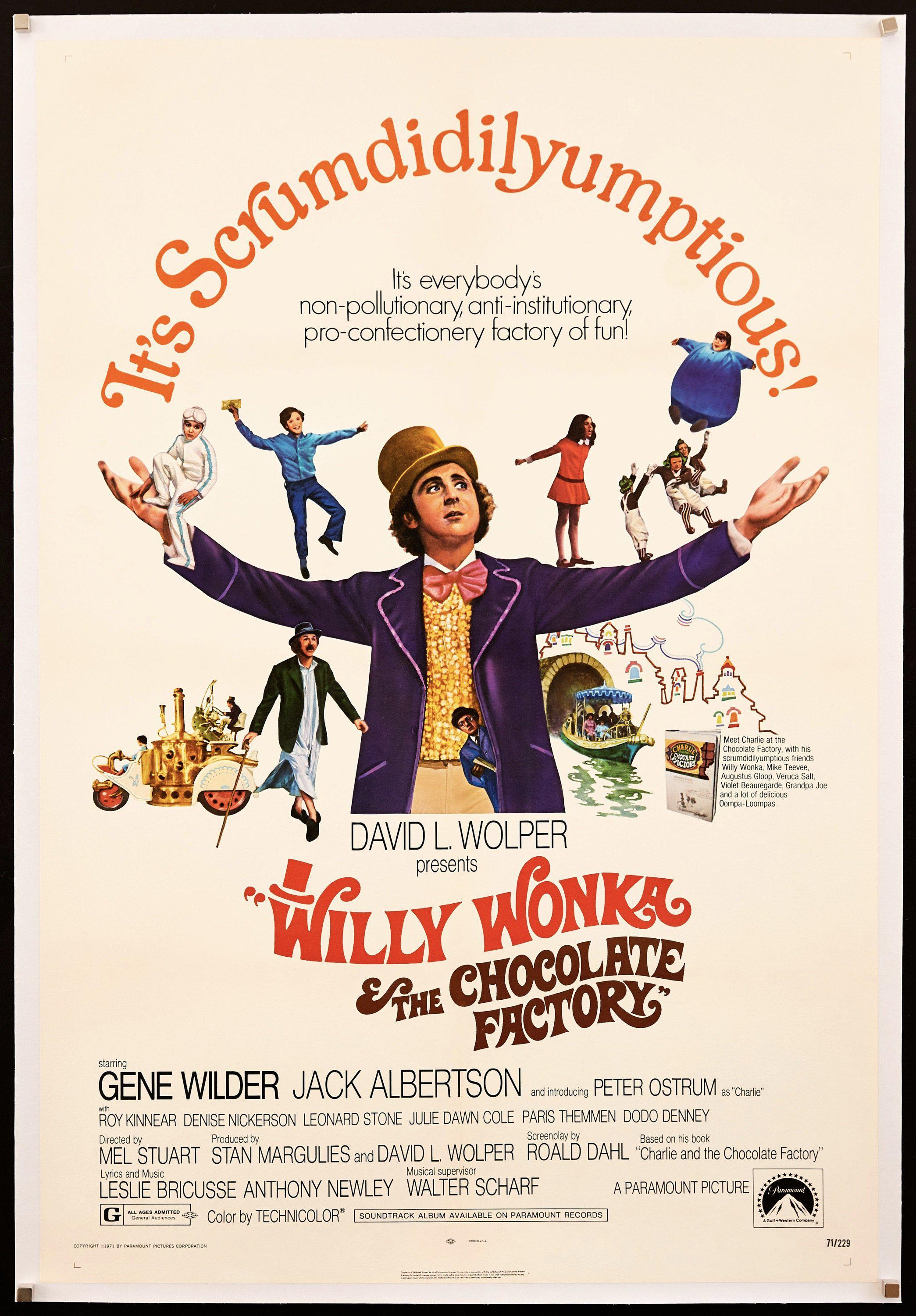Willy Wonka and the Chocolate Factory 1 Sheet (27x41) Original Vintage Movie Poster