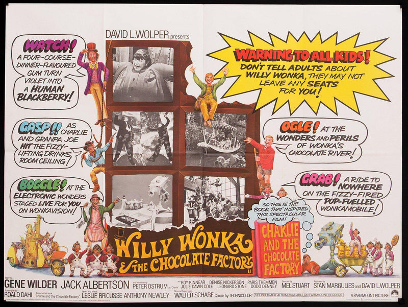 Willy Wonka and the Chocolate Factory British Quad (30x40) Original Vintage Movie Poster