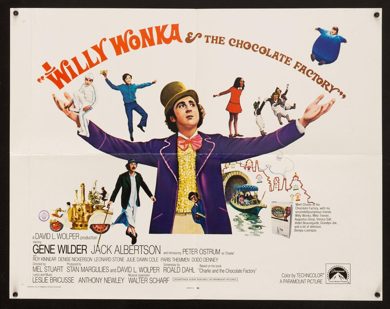 Willy Wonka and the Chocolate Factory Half Sheet (22x28) Original Vintage Movie Poster