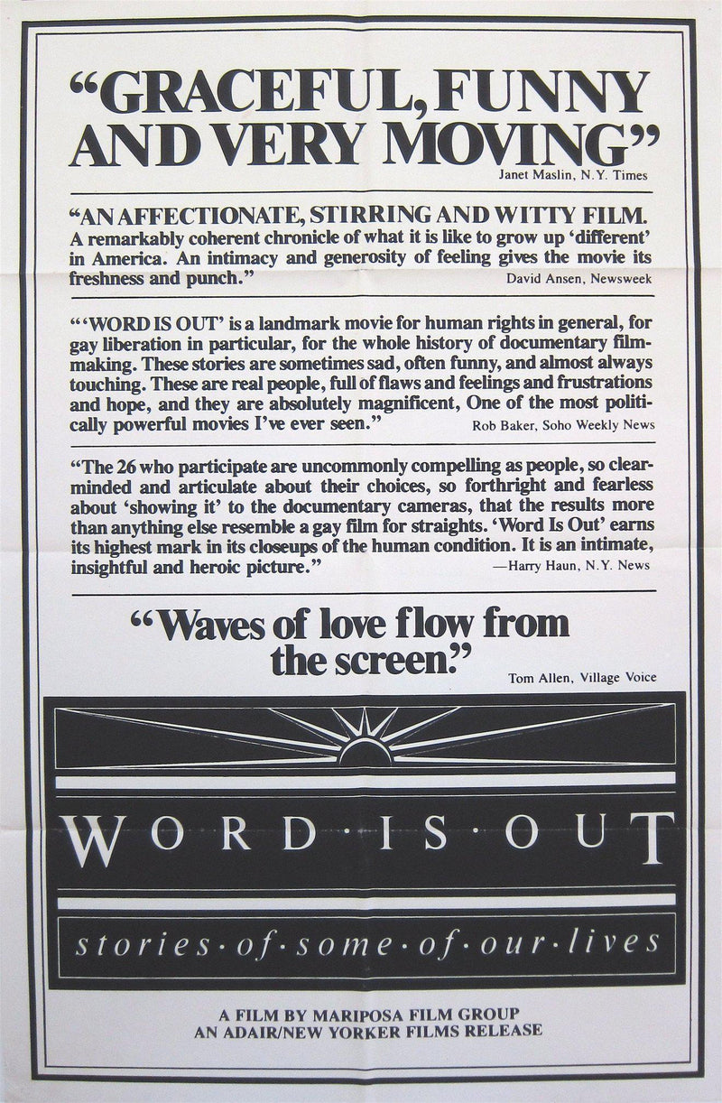 Word Is Out 1 Sheet (27x41) Original Vintage Movie Poster