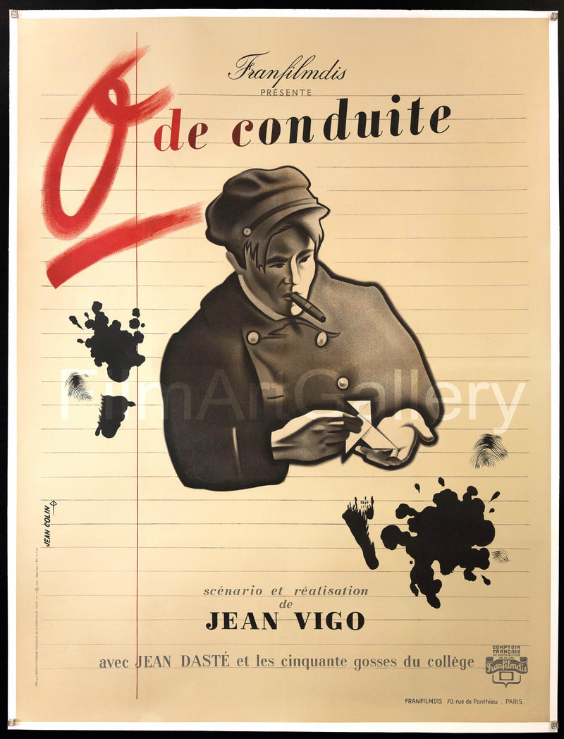 Zero for Conduct (0 de Conduite) French 1 panel (47x63) Original Vintage Movie Poster