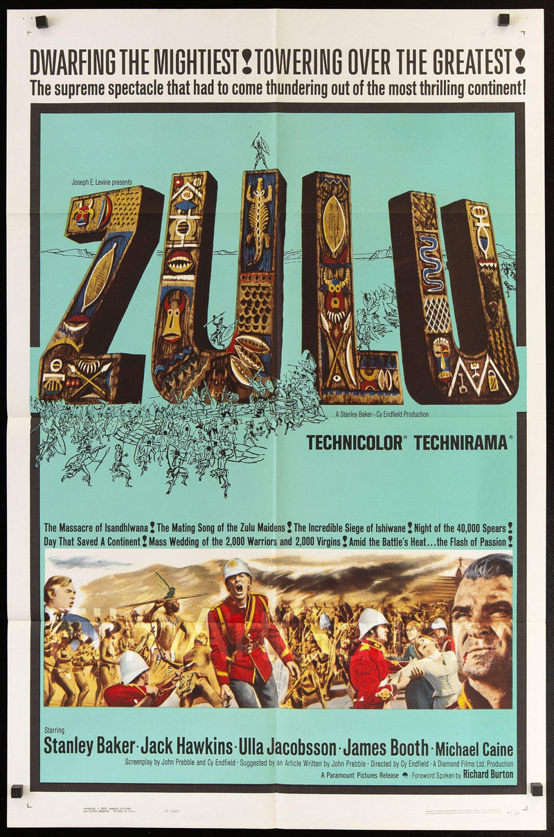 Zulu 1 Sheet (27x41) Original Vintage Movie Poster