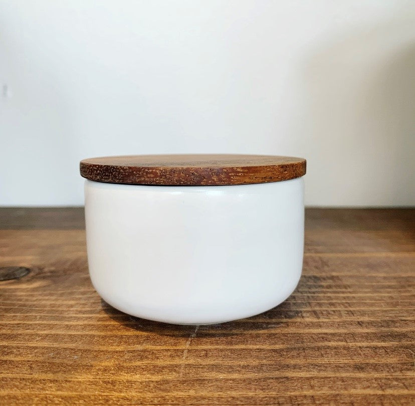 HOME ~ Stoneware Cellar with Acacia Lid