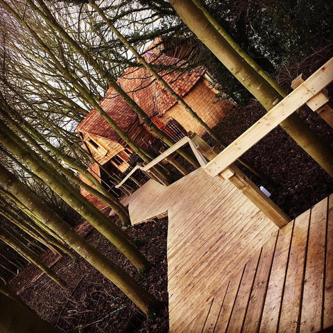 Walkway into Rufus's Roost, the new Luxury Treehouse @ Baxby Manor