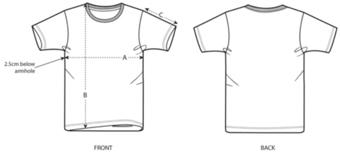 Kids Camping T-Shirt Size Diagram