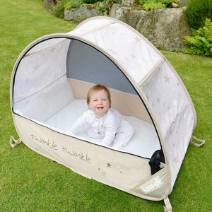 View two of baby in Sun & Sleep Pop Up Travel & Camping Cot, from Kids Camping Store