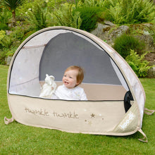 Load image into Gallery viewer, View one of baby in Sun & Sleep Pop Up Travel & Camping Cot, from Kids Camping Store