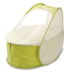 Pop-Up Travel Bassinet / Cot (with padded mattress), with mosquito net zipped up, at Kids Camping Store
