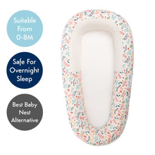 Load image into Gallery viewer, Sleep Tight Baby bed, co-sleeping baby bed, in botanical print, viewed from above