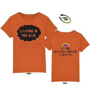 "Childrens ""Camping in the Rain"" t-shirt in bright orange"