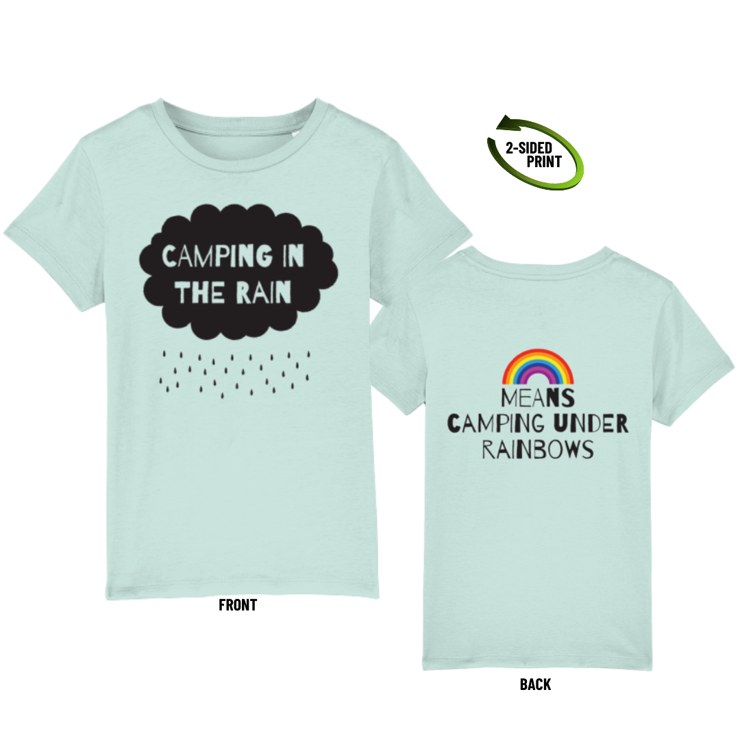 "Childrens ""Camping in the Rain"" t-shirt in caribbean blue"