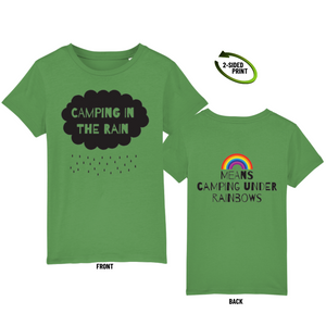 "Childrens ""Camping in the Rain"" t-shirt in fresh green"