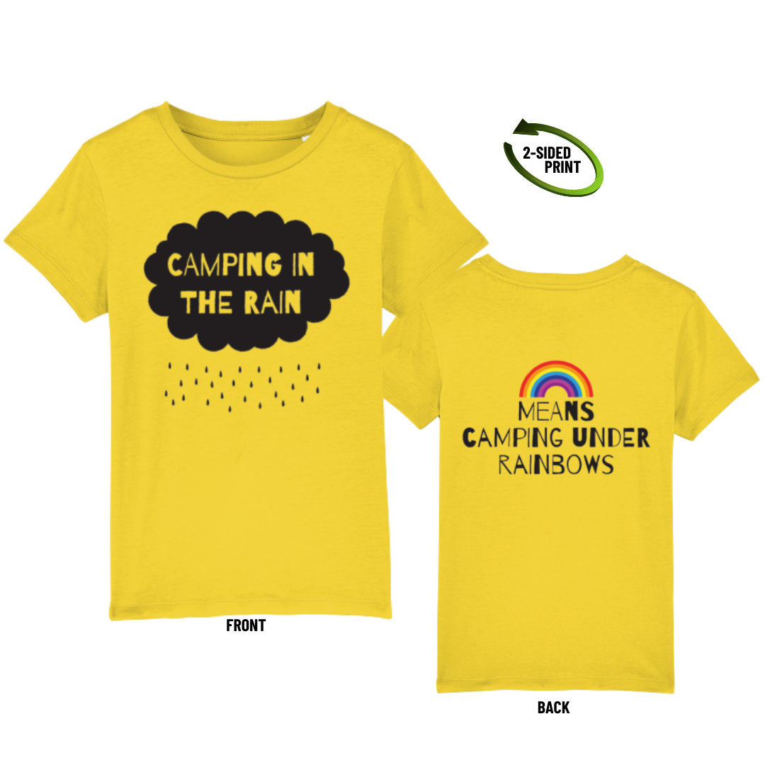 "Childrens ""Camping in the Rain"" t-shirt in golden yellow"