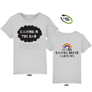 "Childrens ""Camping in the Rain"" t-shirt in heather grey"