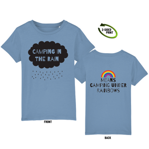 "Childrens ""Camping in the Rain"" t-shirt in mid heather blue"