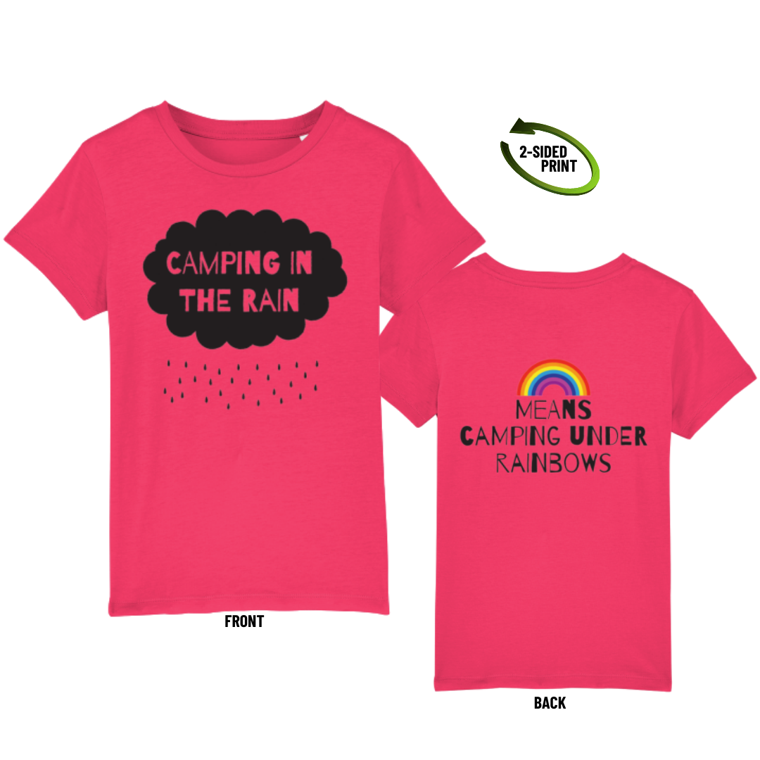 "Childrens ""Camping in the Rain"" t-shirt in raspberry"