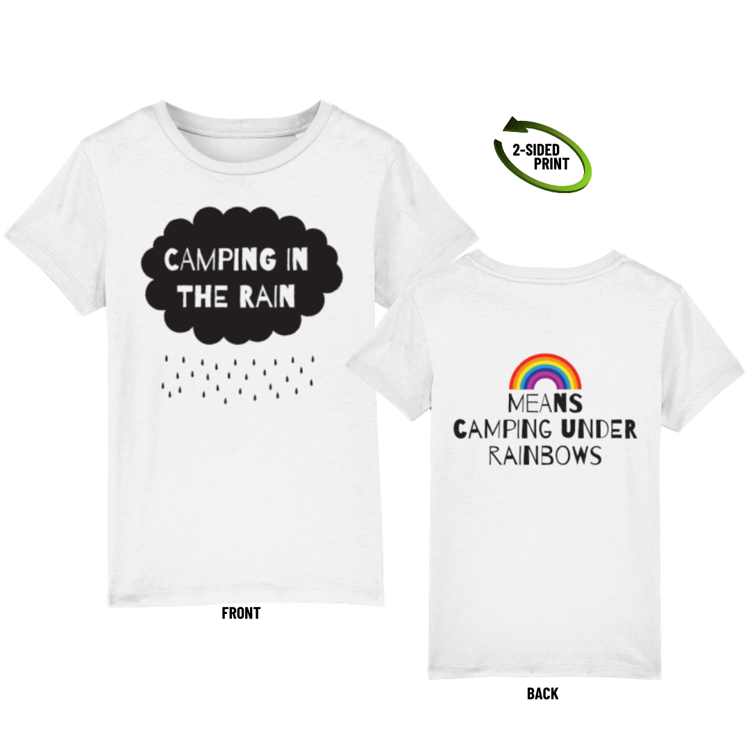"Childrens ""Camping in the Rain"" t-shirt in white"