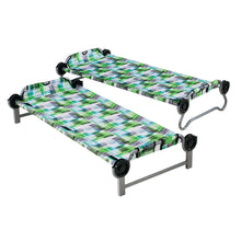 "Load image into Gallery viewer, Kid o Bunk with ""Block Pattern"" Camping Bunk Beds set out as two single beds"