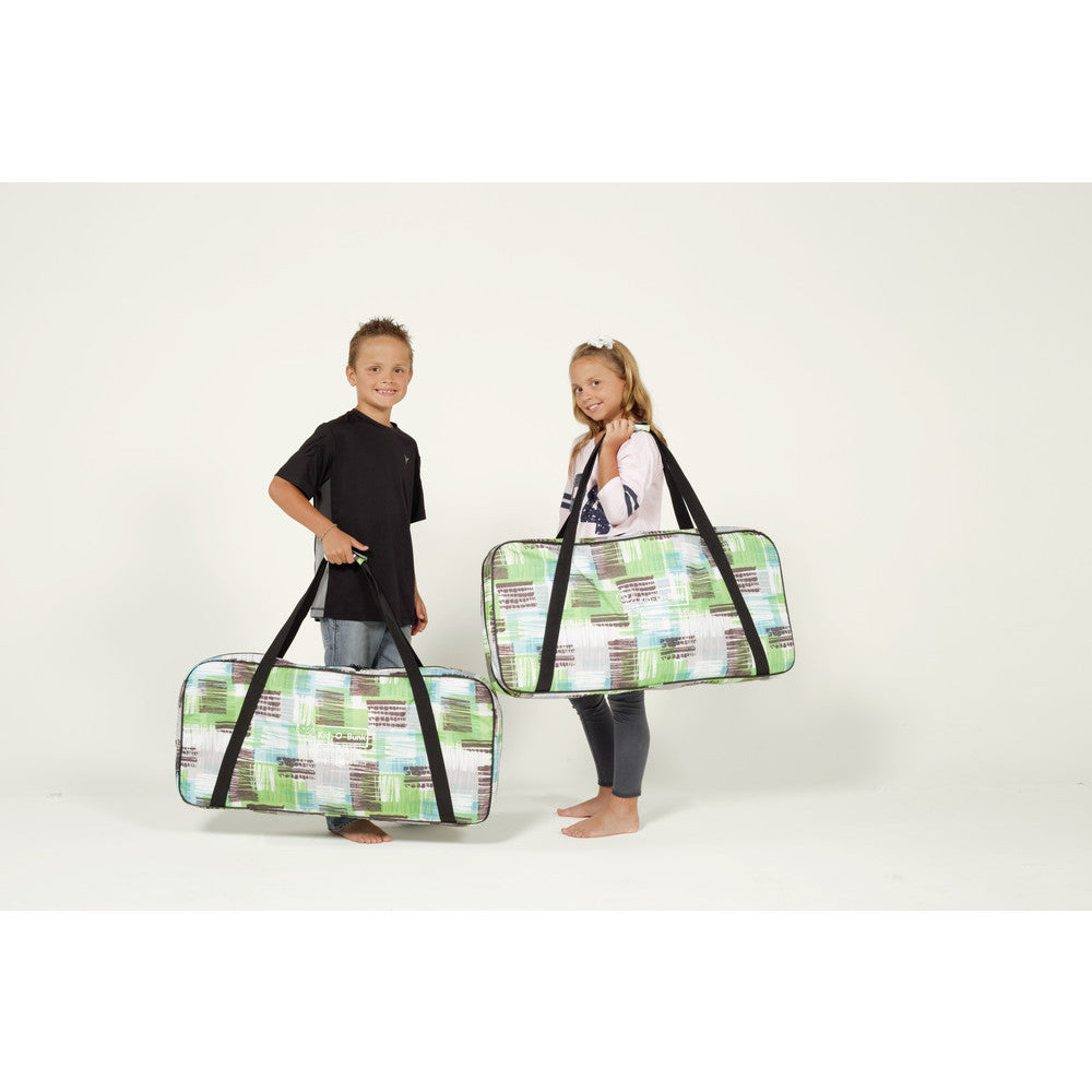 "Children carrying Kid o Bunk with ""Block Pattern"" Camping Bunk Beds"