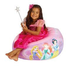 Girl sat on Disney Princess Inflatable Children's Camping Chair from Kids Camping Store
