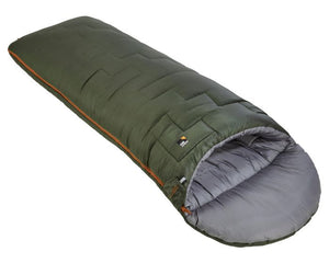 Endeavour 350 Children's 3-4 season sleeping bag in forest and dark rust, at Kids Camping Store