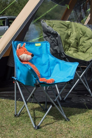 Toy fox sat in Blue folding children's camping chair, at Kids Camping Store