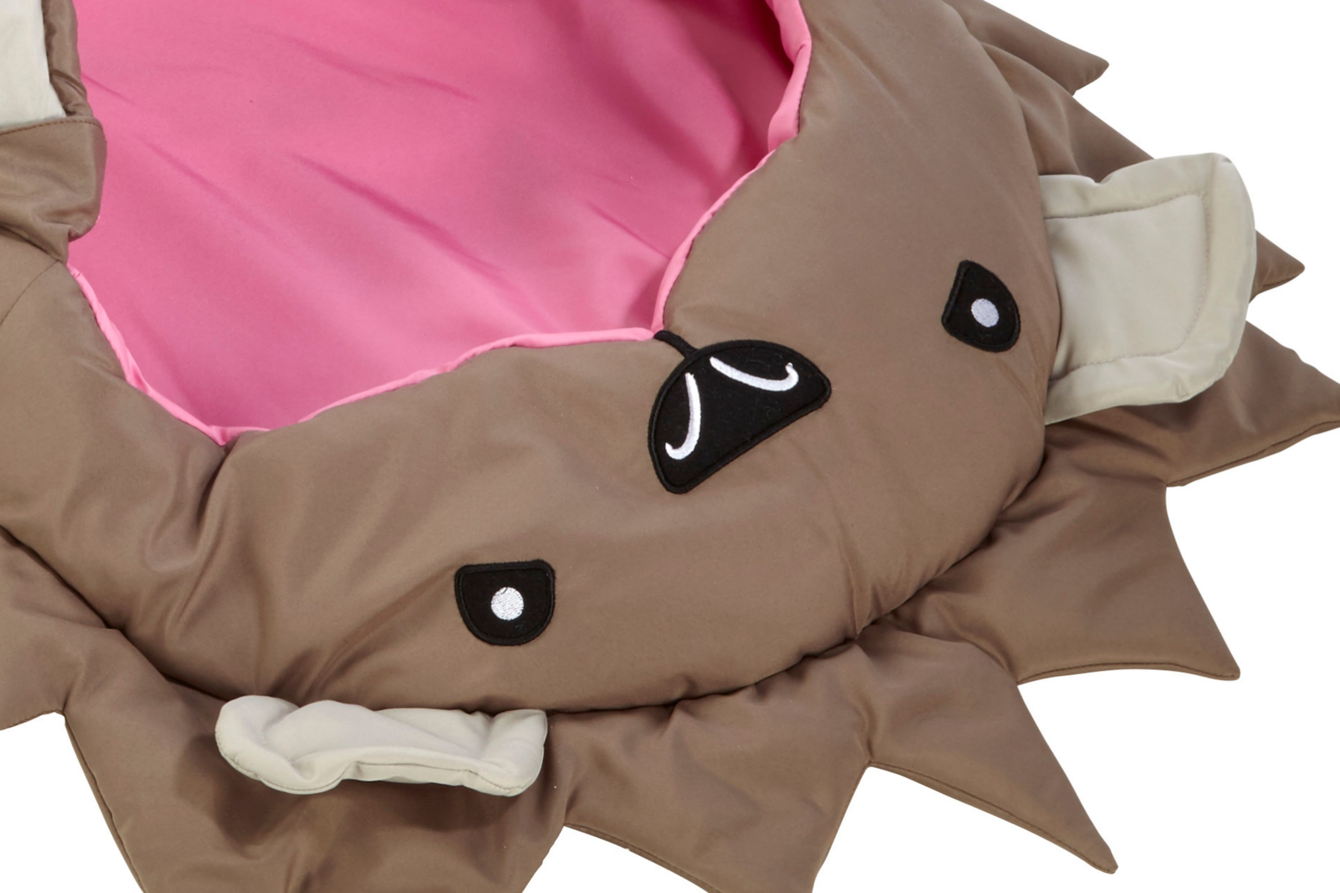 "Close up of head of 2-3 season baby and toddler / small children's sleeping bag in fun ""Spike"" hedgehog design"