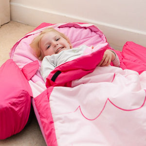 Owl Snuggle Pod in use; children's air bed for camping (similar to a ReadyBed)