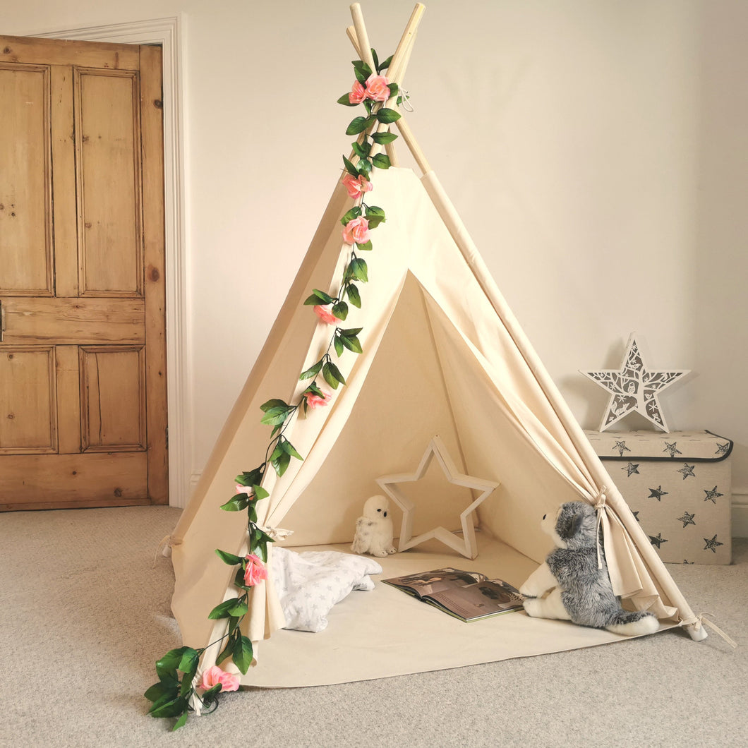 Kids Teepee Tent with Rose Flowers Chain