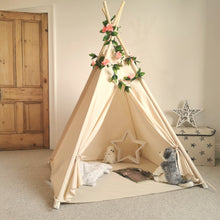 Load image into Gallery viewer, Kids Teepee Tent with Rose Flowers Chain