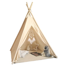 Load image into Gallery viewer, Kids Teepee Tent with Bunting, Dreamcatcher and Fairy Lights