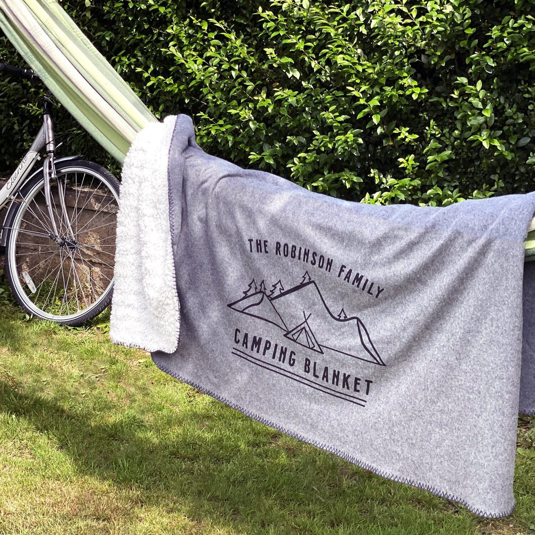 Personalised Family Camping Blanket hung over hammock