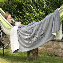 Load image into Gallery viewer, Personalised Family Camping Blanket in use