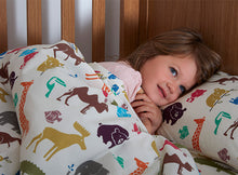 Load image into Gallery viewer, Girl in Dinky Duvalay, Childrens Luxury Camping Bed, at Kids Camping Store
