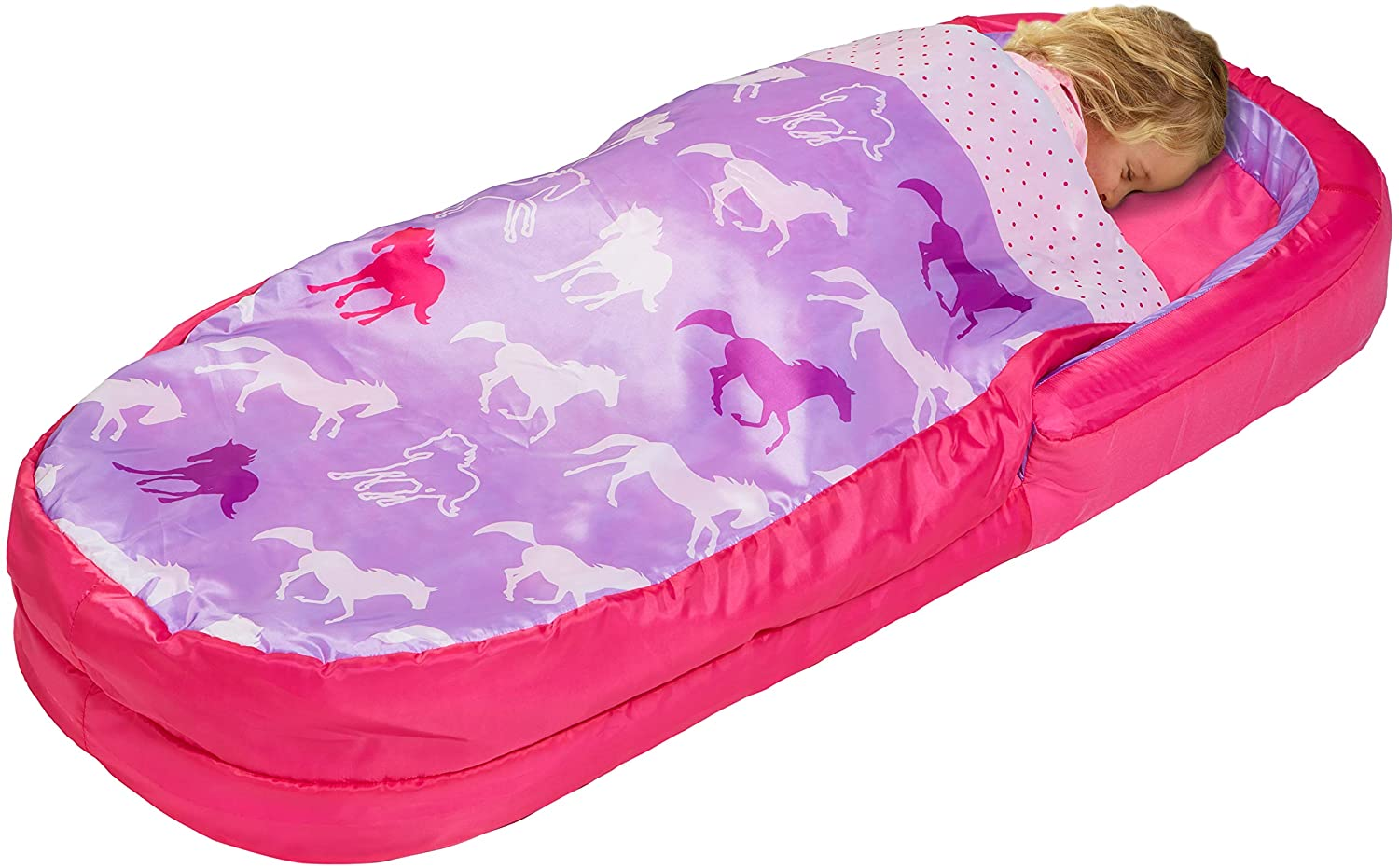 Girl asleep in MyFirst ReadyBed with purple horses design