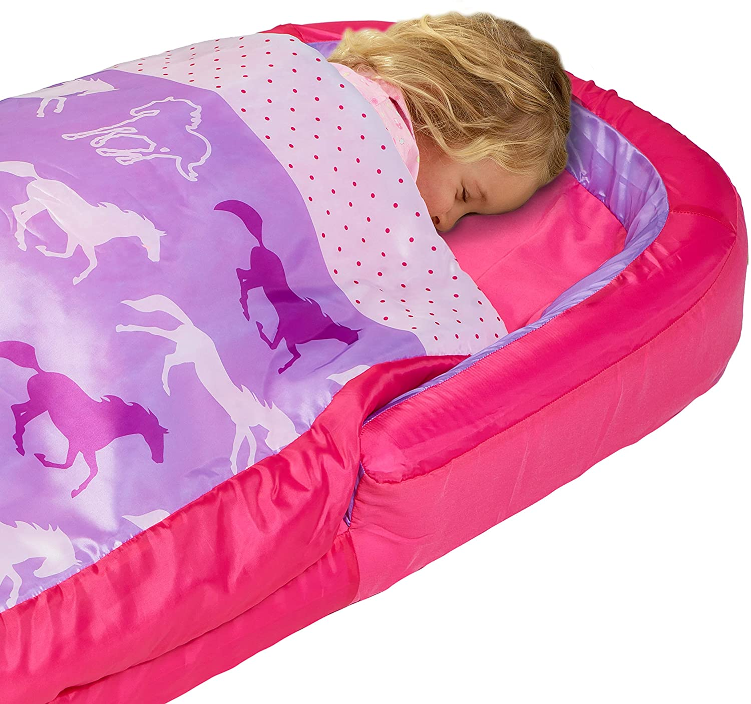Closeup of Girl asleep in MyFirst ReadyBed with purple horses design