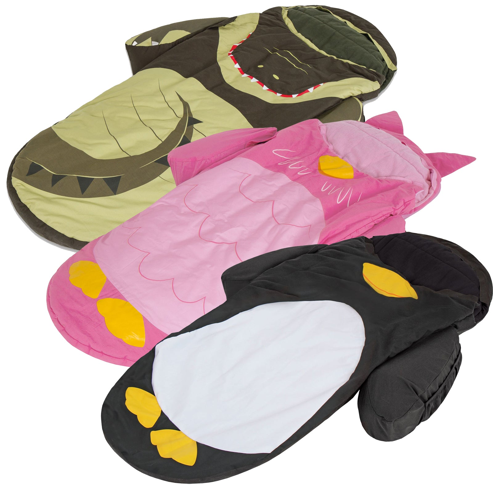 Range of Crocodile, Owl and Penguin Snuggle Pods; children's air bed for camping (similar to a ReadyBed)