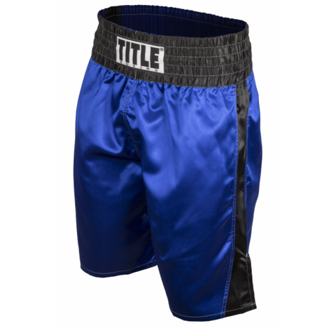 Title Professional Satin Boxing Trunks - Blue/Black - Casanova Boxing USA