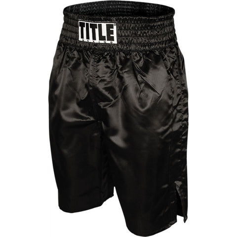 Title Professional Satin Boxing Trunks - Black - Casanova Boxing USA