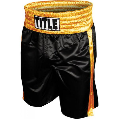 Title Professional Satin Boxing Trunks - Black/Gold - Casanova Boxing USA
