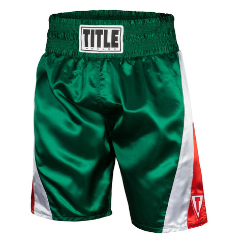 Title Pride Pro Boxing Trunks - Red/White/Green - Casanova Boxing USA