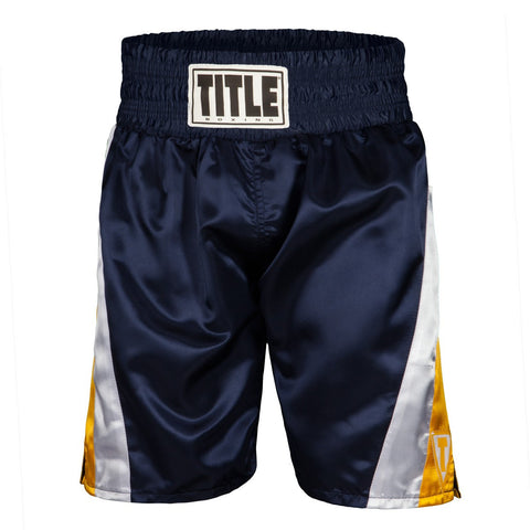 Title Pride Pro Boxing Trunks - Yellow/White/Blue - Casanova Boxing USA