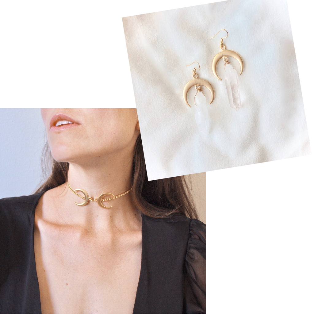 Duality Choker/Duality Earrings- GOLD BUNDLE